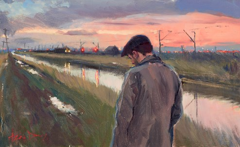 The Tow Path (study) by Kevin Day - Original Painting, Canvas on Board